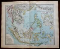 Southeast Asia Indonesia Malaysia Philippines Siam 1891 Stieler detailed map