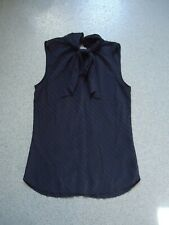 H&M dark navy 2 back button front bow long top UK 6