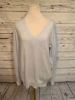 Uniqlo VNeck Sweater Sz L Light Blue Cashmere Blend Long Sleeve Pullover Soft