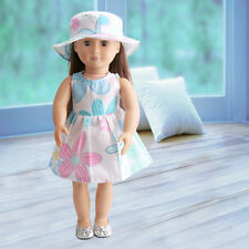Handmade Fashion Doll Summer Dress & Hat Clothes for 18 inch Girl Doll Wear Gift