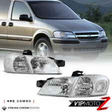 1997-2005 Chevy Venture Pontiac Montana 4PC COMBO Chrome Clear Corner Headlights