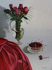 Red Rose, Flower, Cherry, Fruit, Original Oil Painting, Signed, Art Deco