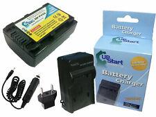 Battery + Charger + Car Plug + EU Adapter for Sony DCR SX45, NEX VG30, NEX VG900