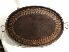 Sarried Ltd Brass & Leather Tooled Hairy Footed Decorative Table Serving Tray