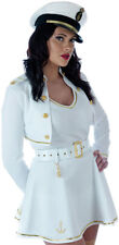 Ladies Sailor Fancy Dress Captain Costume 80s White Navy Officer Outfit 8-10 NEW