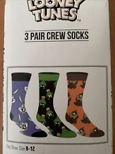 New ListingLooney Tunes Crew Socks 3 Pair Pack Men's Shoe Size 8 to 12