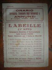 L'ABELILLE ASSICURAZIONE Orari Ferroviari Tranviari 1932 Volantino ORIGINALE