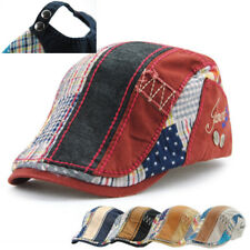 UK Men Women Cabbie Gatsby Flat Cap Cotton Golf  Patchwork Adjust Sun Beret Hat