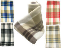 WARM SOFT TRAVEL FLEECE THROW OVER CAMPING TARTAN CHECKED SOFA BED CAR BLANKET