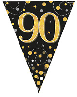 90th Birthday Party Sparkling Age 90 Black & Gold Flag Bunting Banner Decoration