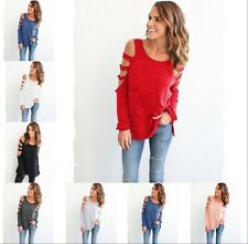 Women Cold Shoulder Long Sleeve Loose Casual Blouse Tops Sweater Jumper Pullover
