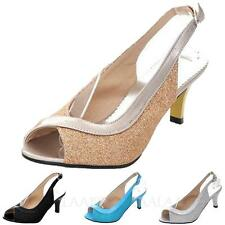 Peep Toe shoes Shiny Mid Heeled Party slingback Sandals Size 7 8 9 10 11 12 13