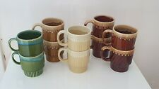 VINTAGE STACKABLE COFFEE CUPS, DRIP GLAZE x 10, BROWN, GREEN, CREAM