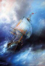 Quadro legno 30 x 44 cm stampa in alta qualità fantasy veliero mare tempesta