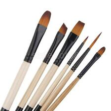 6PC ARTIST ART PAINT BRUSHES SET SUPPLIES Diagonal Filbert ASSORTED TIP C815