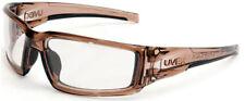 Uvex Hypershock Safety Glasses Smoke Brown Frame Clear Hydroshield Anti-Fog Lens