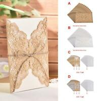 10pcs  Laser Cut Wedding Invitations Cards Kits Envelopes Seals  Carved Lace