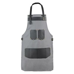 Grey Canvas With Black Pocket Butcher - BBQ & Cooking Apron Hairstylist Apron