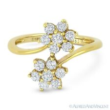 Yellow Gold 2-Flower Bypass Right-Hand Ring 0.63ct Round Cut Diamond Cluster 18k