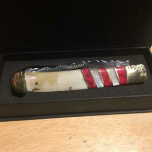 """Bear & Bull Hand Made White OX Horn MOP Turquoise 4 1/8"""" Trapper BB108OXRPW"""