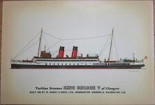 Giant Ship Postcard/Print: Turbine Steamer King George V of Glasgow-Denny & Bros