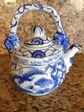 VTG Chinese Porcelain Teapot --Blue & White Koi & Cloud Design - Pristine!