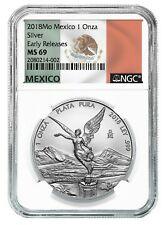 2018 Mexico 1oz Silver Libertad NGC MS69 ER - White Core - Flag Label