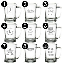 More details for personalised glass beer tankard birthday gift christmas wedding laser engraved