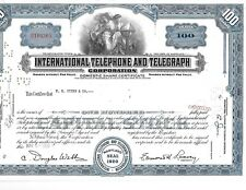 1959 International Telephone & Telegraph Stock Certificate 100 Shares Nice !