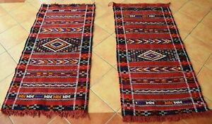 Handmade Bedroom rugs Twin Moroccan Red carpet 5x2.5Ft Traditional Oriental rug