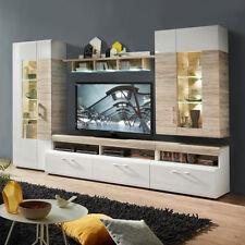 Exceptional Wohnwand Spirit Anbauwand Wohnkombi Wohnzimmer Weiß Hochglanz Sandeiche Mit  LED