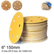 "6"" 150mm Sandpaper Sanding Discs Pads Hole Loop Hook 40~1000Grit 50/100pcs"
