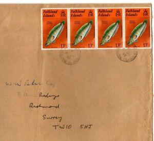 FALKLAND ISLANDS QEII Cover 30 Jun 1982 Port Stanley GB Surrey FISH EP215