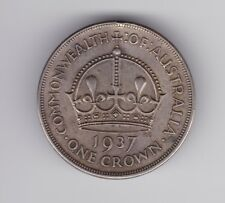 1937 Sterling Silver Crown Coin Australia King George V1 F-926