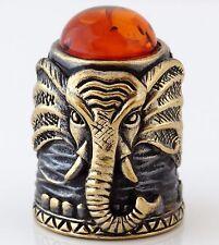 "Thimble Elephant Brass & Honey Baltic Amber Collectible Russian Souvenir 1 3/16"""