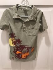 Boys Appaman Size 6 S/S Polo Olive With Jeep Euc