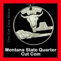 Montana Big Sky Country 25¢ Quarter Cut Coin Necklace MT Treasure State Jewelry