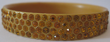 VINTAGE GOLD YELLOW RHINESTONE CELLULOID BANGLE BRACELET