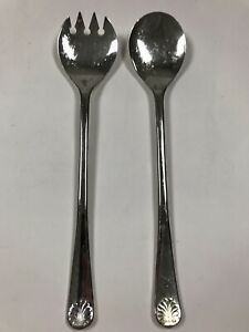 """Vintage 9.5"""" W A Italy Silverplate Salad Serving Spoon And Fork Silver Plate"""
