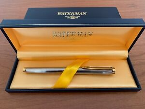 WATERMAN IDEAL Silver Plated & Gold EXCL 74 FC 18K 750 Nib Fountain Pen & Box