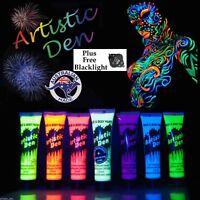 7 x 15ml - UV Neon Glow Face Paint Body Paint Black Light 1 x Glow in Dark Neon
