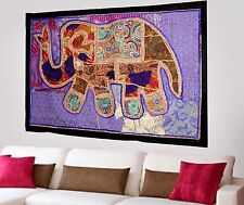 HANDMADE ELEPHANT BOHEMIAN PATCHWORK WALL HANGING EMBROIDERED TAPESTRY INDIA X48