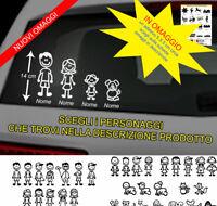 4 adesivi famiglia a bordo stickers personalizzati con nome vetri auto tuning