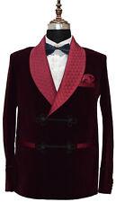 Men Burgundy Smoking Jackets Elegant Luxury Designer Dinner Party Wear Blazers