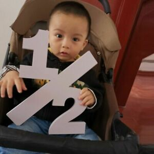 Wooden Half Sign Baby Photography Props Birthday Age Numbers Photographer Tools