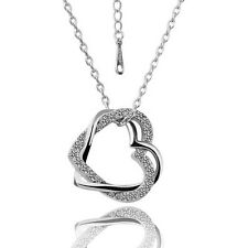 Wholesale 18K White Gold GP Women' Fashion Crystal Double Heart Necklace N006