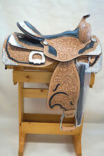 """16"""" Western Pleasure Show Saddle in Med Oil Tooled Silver Studs Black Seat"""