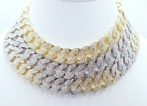 14KT 18 MM BUST DOWN MIAMI CUBAN THICK GOLD CHAIN 46 CT VS1 CLARITY CRYSTALS