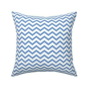 Chevron Zigzags Cornflower Throw Pillow Cover w Optional Insert by Roostery