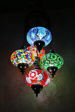 Turkish Moroccan Style Mosaic Multicolour Hanging Lamp Light 5 Large Globe